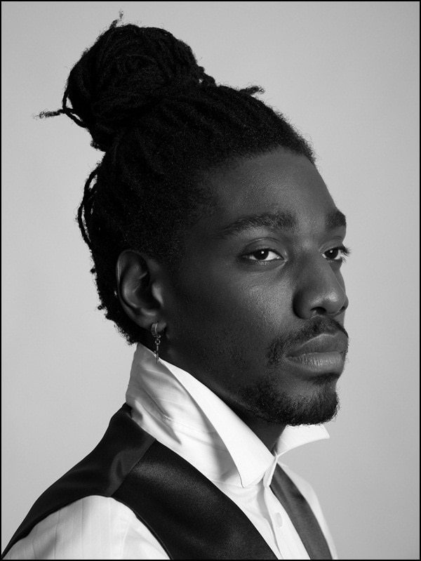 black men bun hairstyle