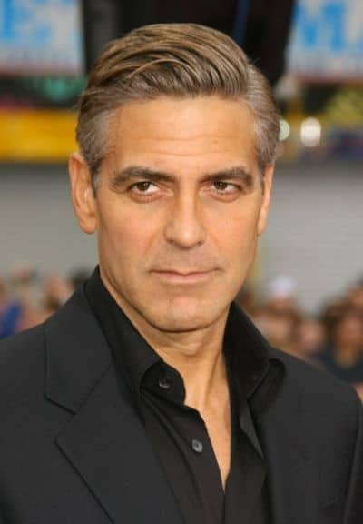 george clooney's pompadour with side part