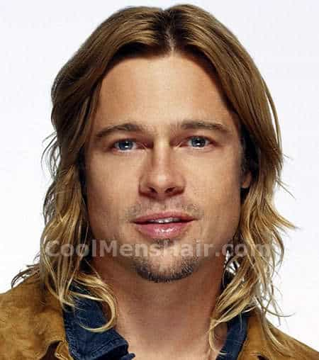 Photo of Brad Pitt long hair style.
