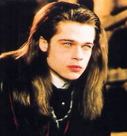 Brad Pitt long straight hairstyle in Interview with the Vampire.