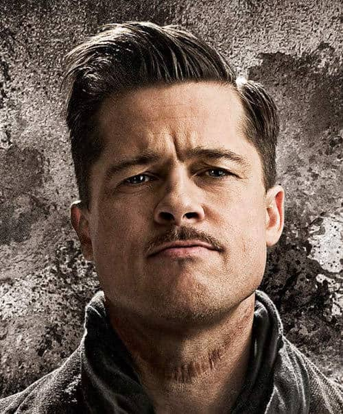 Brad Pitt side parted hairstyle in Inglourious Basterds.
