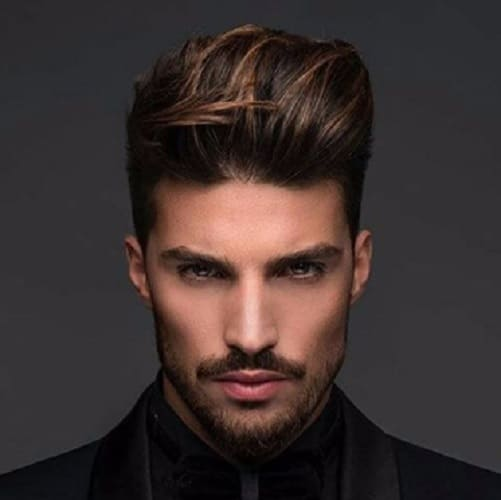 comb over hairstyle with pompadour