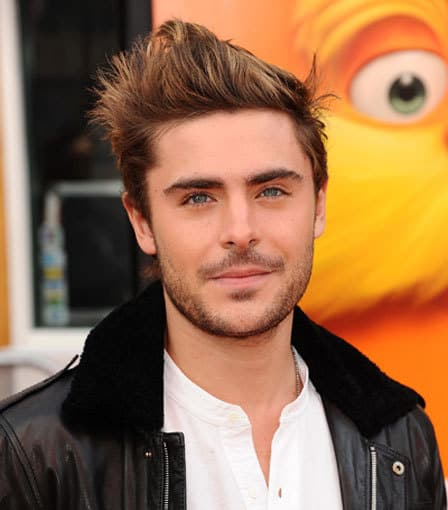 Photo of Zac Efron spiky hairstyle.