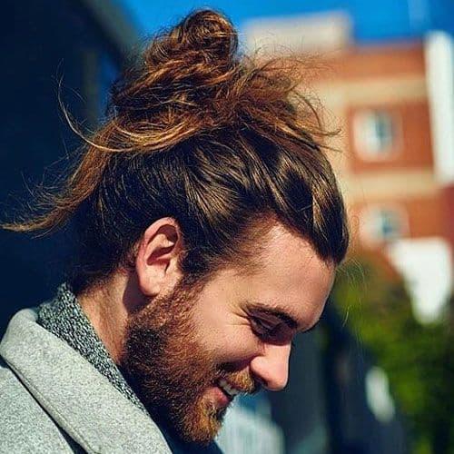 Messy Bun with men's Long Curls