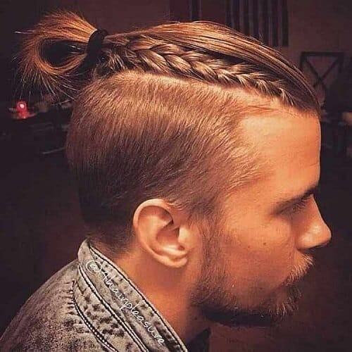 Buns with Braid and Strong Side Part for men