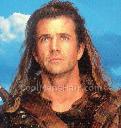 Picture of Mel Gibson long hairstyle in Braveheart.