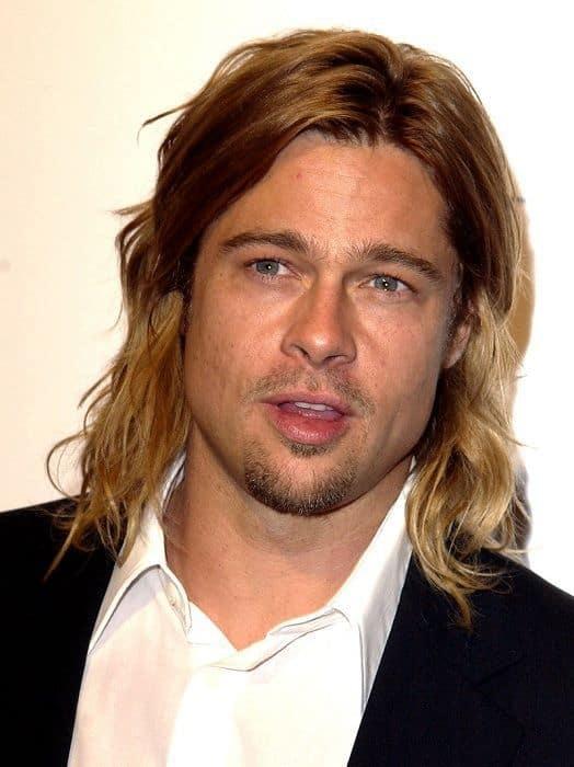 Brad Pitt long wavy hairstyle.