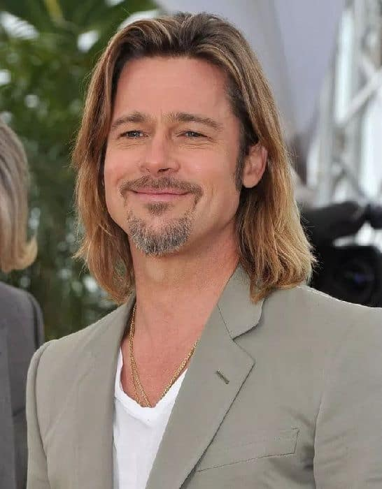 brad pitt medium length hairstyle